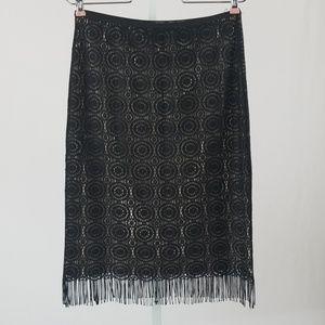 Bebe Black Lace Fringe Straight Midi Skirt Medium